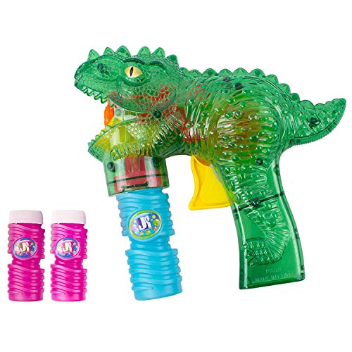 Super-Fun Dinosaur Bubble Shooter for Kids | Toy T-Rex Bubble Blower with LED Flashing Lights & Sounds | Easy to Assemble Bubble Machine for Boys & Girls | Perfect Birthday Idea