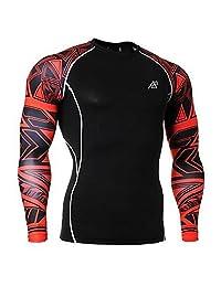 Men's Fashion Rash Guard Shirts Long Sleeve Asian Size M-4XL Black