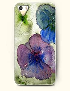 Phone Case For iPhone 5 5S Green Blue And Purple Flower - Hard Back Plastic Case / Oil Painting / OOFIT Authentic