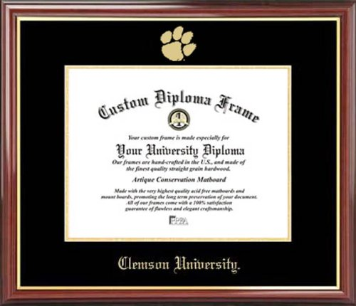 Laminated Visuals Clemson University Tigers - Embossed Logo - Mahogany Gold Trim - Diploma Frame