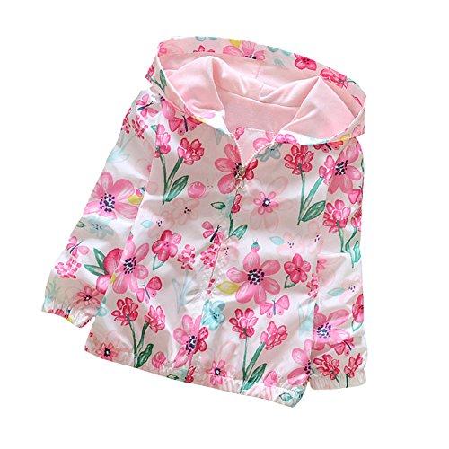 Spring Breakers Costume (Loveble Kids Girls Autumn/Spring Ink Floral Printing Hoodie Jacket Windbreaker Sunscreen Jacket Age 2-7 Years)