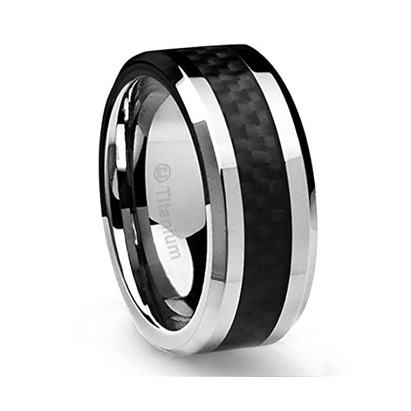 10mm Sleek Titanium Wedding Band by Cavalier Jewelers – Comfort Fit Wedding Ring with Polished Finish – Lightweight Band for Men – Black Carbon Fiber Inlay – Perfect Gift Ring - 515a ROWHhL - Cavalier Jewelers 10mm Sleek Titanium Wedding Band Comfort Fit Wedding Ring with Polished Finish – Lightweight Band for Men – Black Carbon Fiber Inlay Ring