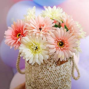 Gerbera Daisy,14 Pcs Artificial Flowers Silk Flowers Bouquets, Bride Bridesmaid Holding Flowers for Wedding Bouquet,Home Garden Party Wedding DIY Decoration (Pink and White) 2