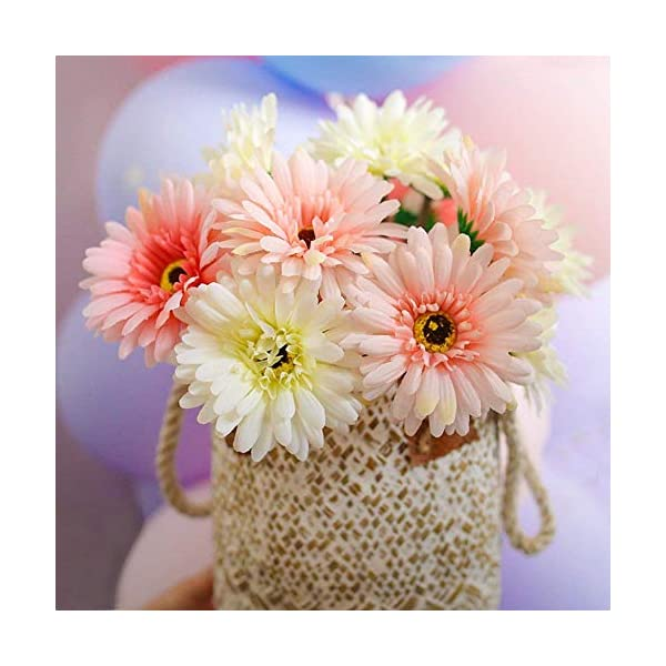 Gerbera-Daisy14-Pcs-Artificial-Flowers-Silk-Flowers-Bouquets-Bride-Bridesmaid-Holding-Flowers-for-Wedding-BouquetHome-Garden-Party-Wedding-DIY-Decoration-Pink-and-White