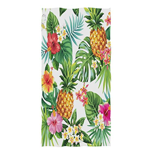 Floral Tropical Washcloth - ZZKKO Tropical Palm Leaf Floral Pineapple Towel Washcloth Baby Toddler Kids Boys Girls Women Man for Home Kitchen Bathroom Spa Gym Swim Hotel Use