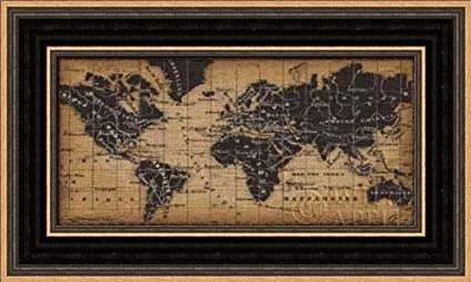 Amazon Com Old World Map Framed Art Print 5x10 Fine Art Print