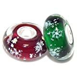 "Solid 925 Sterling Silver Set of 2 ""Red and Green with Snowflakes"" Glass Christmas Charm Bead for European Snake Chain Bracelets"