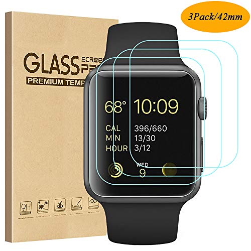 Tourist [3 Pack] Compatible for Apple Watch Tempered Glass Screen Protector 42mm Series 3/2 / 1, 9H Hardness, Anti-Scratch, Anti-Fingerprint, Anti-Bubble Easy Installation [Only Covers The Flat Area