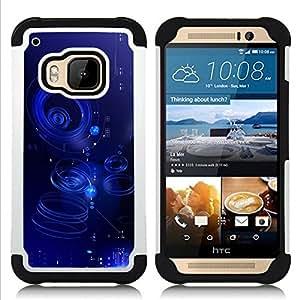 - ripple blue water abstract puddle/ H??brido 3in1 Deluxe Impreso duro Soft Alto Impacto caja de la armadura Defender - SHIMIN CAO - For HTC ONE M9