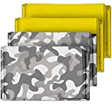 british army kit - Camouflage Emergency Mylar Blankets (4-Pack) – Perfect for Outdoor Camping, Hiking, Survivalist, Shelters, Preppers, Hunting, First Aid Kit (Winter Camo (2) and Gold (2))