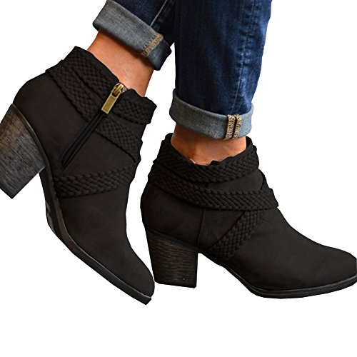 Women Low Heel Ankle Booties Slip On Suede Crisscross Braid Chunky Block Stacked Round Toe Ankle - Boots Ankel