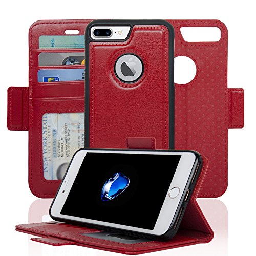 Navor Detachable Magnetic Wallet Case RFID Protection, Logo Hole, Compatible for iPhone 7 Plus [Vajio Series]-Red (IP7PVJRD)