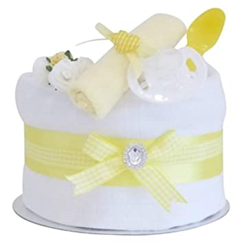 Signature Yellow Single Tier Neutral Nappy Cake Baby Hamper Baby