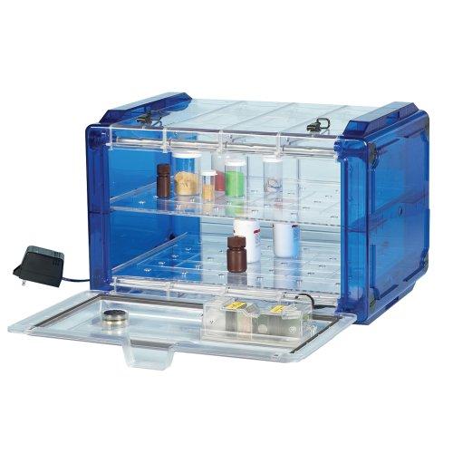 Bel-Art Secador Clear 4.0 Horizontal Auto-Desiccator Cabinet with Blue End-Caps; 100V, 1.9 cu. ft. (F42074-0106)