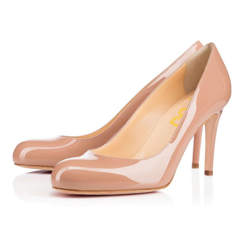 FSJ Women Formal High Heel Pumps Close Toe Slip On Business Shoes for Office Lady Size 9 Nude-7 cm