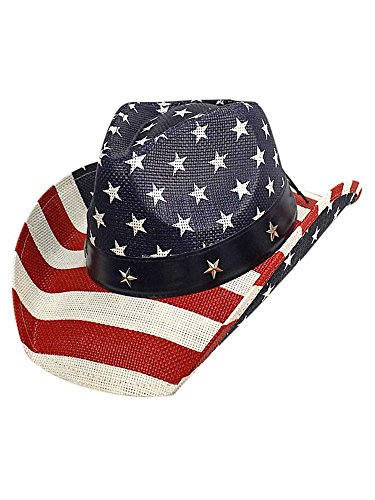 Luxury Divas American Flag Print Patriotic Straw Cowboy Hat -