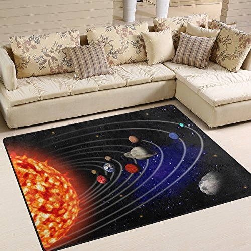 ALAZA Sun Solar System Universe Star Space Area Rug Rugs for Living Room Bedroom 5'3'' x4' by ALAZA