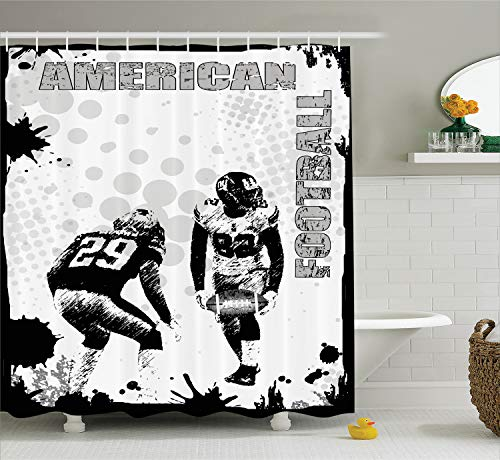 Ambesonne Sports Decor Shower Curtain Set, Grungy Murk American Football Image International Team World Cup Kick Play Speed Victory, Bathroom Accessories, 69W X 70L Inches, Black White]()