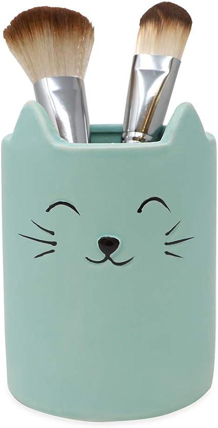Kitty Black Cat Makeup Brush Holder Cute Multi-Purpose Ceramic Cup Organizer Gift Ideas for Housewarming Kawaii Bathroom Pencil Office Decor