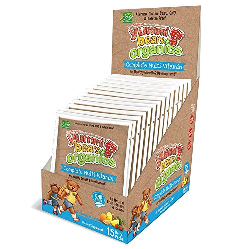 Yummi Bears Organics Complete Multi Vitamin Daily Packs, Gummy Vitamin for Kids, 15 1-Day Packets