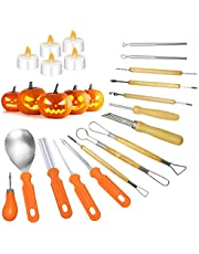 Olamtai Halloween pumpkin carving kit for Kids & Adults, 15 PCS pumpkin carving tools with 5 PCS Flameless Candles, Heavy Duty Stainless Steel pumpkin carving set for Home Halloween DIY Decoration