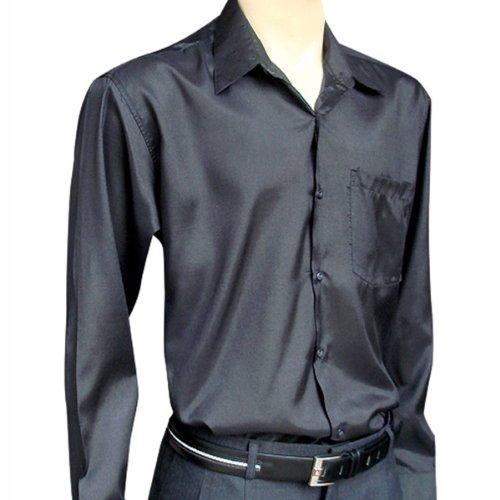 Men's BLACK LONG Sleeve Thai Silk Shirt - XXXL at Amazon Men's ...