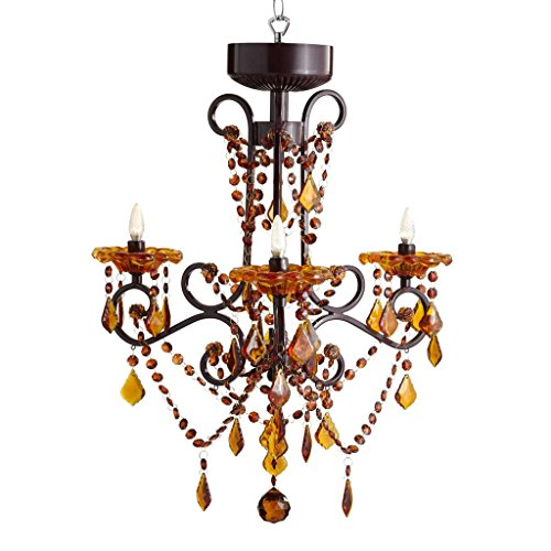 Leaded Stained Glass Lamp (River of Goods 14885S Italian Romance Wireless LED 3-Arm Chandelier with Remote, Amber)