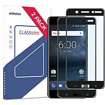 Nokia 6 Screen Protector, Wimaha 2 Pack Tempered Glass Screen Protector for Nokia 6 Full Screen Coverage 5.5 inch Glass Protector Scratch Resistant