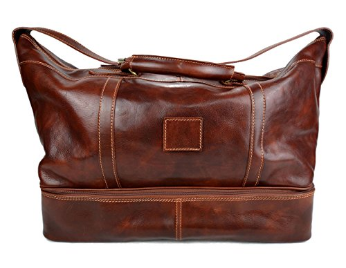 Leather duffle bag leather luggage genuine leather shoulder bag brown mens ladies travel bag gym bag luggage duffel weekender carryon bag by ItalianHandbags