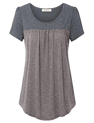 - Lingfon Women's Short Sleeve Pleated Front Stitching Tunic Shirt Top(L,Coffee)