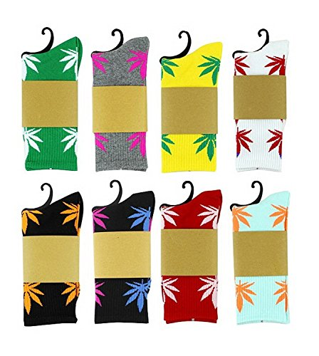 Century Star Unisex Marijuana Weed Leaf Printed Colorful Casual Socks For Women&Men 5 Pack-randomly Choose One Size by Century Star
