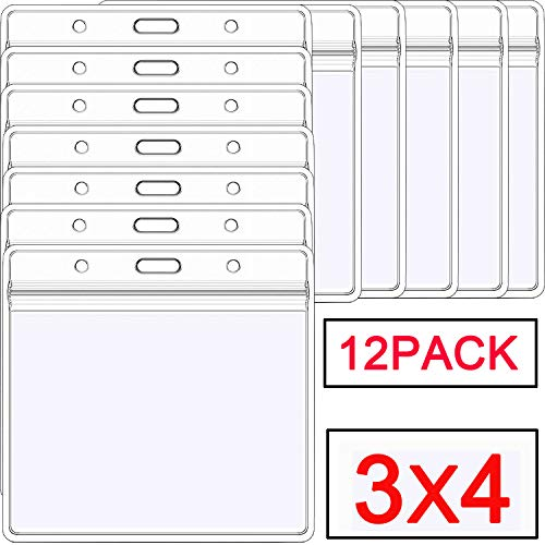(id badge holder Large Waterproof PVC ID Card Holders 3x4 Heavy Duty Clear Horizontal Name Tag Badge Holders Type Resealable Zip Fits 3x4 Inches Name Badge Insert and Multiple Cards(12)