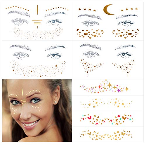 10 Sheets (30+ Different Styles) Face Tattoo Sticker, Freckle Sticker, Face Metallic Temporary Tattoo Water Transfer Tattoo for Professional Make up Dancer Costume Parties