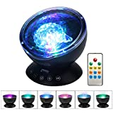 Umiwe Remote Control Ocean Wave Projector Night Light with Built-in Mini Music Player [12 LED Beads, 7 Colorful Light Modes] for Kids Adults Bedroom Living Room - Newest Generation