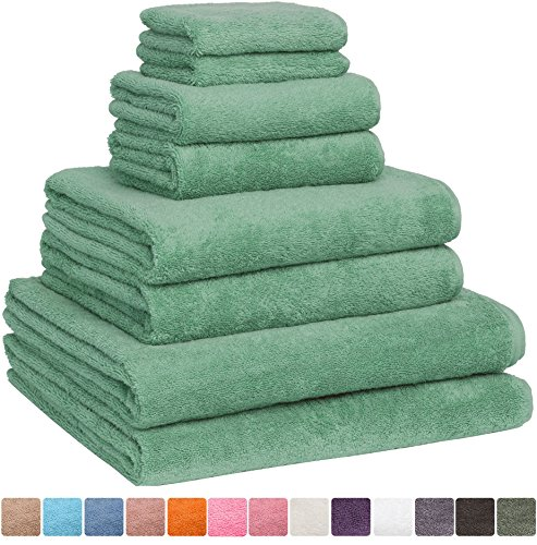 Fast Drying Extra Large Bath Towel Set, Decorative & Luxury Premium Turkish Cotton Towels for Clearance – Spa & Hotel Quality – Pack of 8 including 2 Oversized Bath Sheets (30×60) – Sage Green