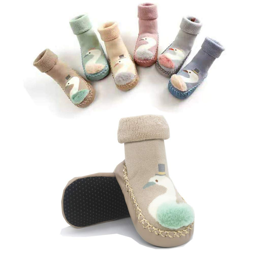 PanGa Baby Girls Boys Moccasins Soft Sole Non-Slip Slipper Infant Toddler First Walkers Cozy Winter Warm Indoor Socks