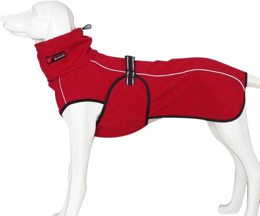 Liboom Ropa para Mascotas Chaqueta Impermeable para Perros Abrigos de Invierno Otoño Cálido Chaqueta con Correa Ajustable y Banda Reflectante para Mascotas Perros XL Rojo
