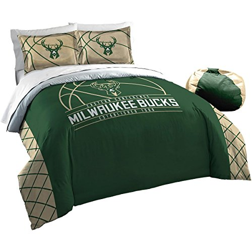 The Northwest Company Officially Licensed NBA Milwaukee Bucks Reverse Slam Full/Queen Comforter and 2 Sham Set