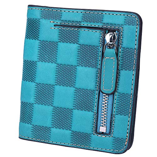 (BIG SALE-AINIMOER Women's RFID Blocking Leather Small Compact Bifold Pocket Wallet Ladies Mini Purse with id Window (Checkered Sky Blue))