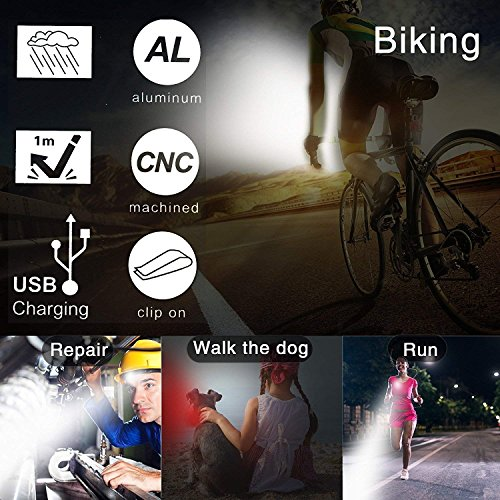 Akale Rechargeable Bike Light Set, Super Bright LED Bicycle Lights Front and Rear, 4 Light Mode Options, 650mah Lithium Battery, Bike Headlight, IPX4 Waterproof, 2 USB Cables 3 Strap Included by Akale (Image #6)