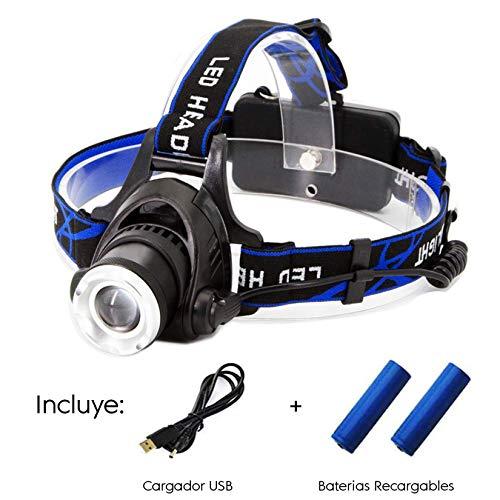 Lampara de Cabeza Recargable. Linterna para Cabeza o Casco con Regulación de Intensidad de Luz. Incluye Baterías...