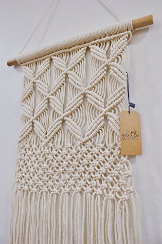 BoHo Macrame Hanging Wall Decor: Decorative Wall Art Cotton Rope Cord Woven Tapestry Home Decorations for the Living Room Kitchen Bedroom or Apartment ()
