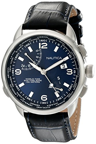 Nautica Men's NAD19507G NWT 01 Stainless Steel Watch with Leather Band