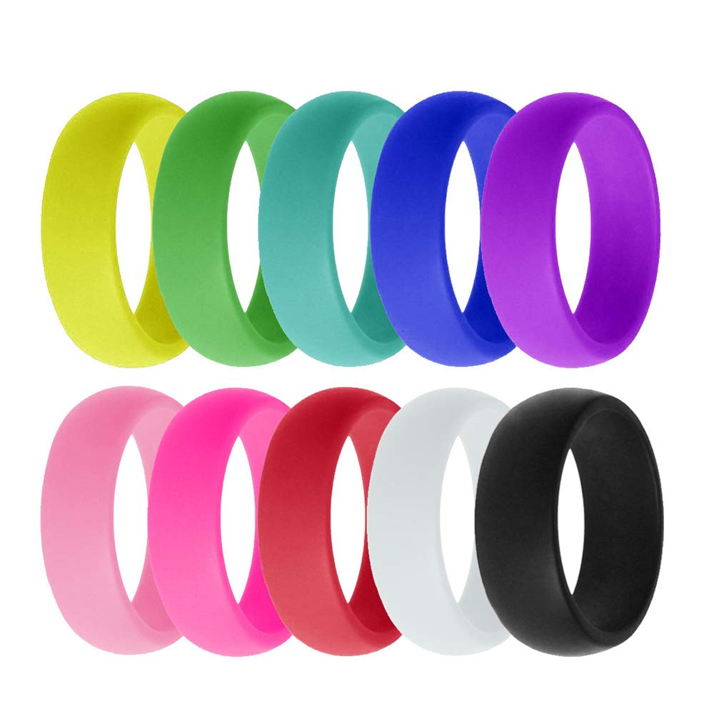 VEINTI+1 10 Pack Candy Color Set Silicone Rings For Women/Men,Fit for Sport,Fitness,Training,Size 6-12(8mm Wide) (12)