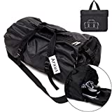 Arxus Foldable Waterproof Duffle Sports Gym Travel Luggage Bag with Shoes Compartment for Women & Men (L, Black)