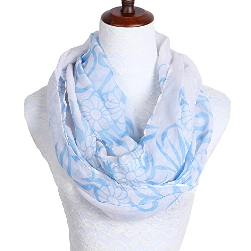 daguanjing Lightweight Infinity Scarf Blue Floral for Women (Mens Floral Scarf)