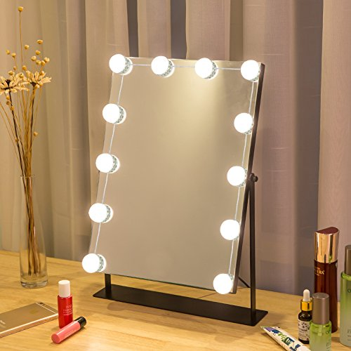 Baile Hollywood Style LED Vanity Mirror Lights Kit with Dimmable Light Bulbs, Lighting Fixture Strip for Makeup Vanity Table Set in Dressing Room (Mirror Not ()