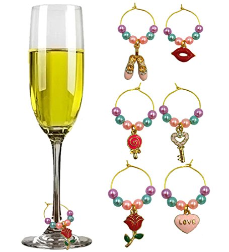 Wine Accessories and Gifts Wine Charm Sweet Love Theme Beaded Wine Charms for Glasses Identifiers Set of 6 women gift of Valentine's Day Wedding Anniversary Birthday Parties and Holidays