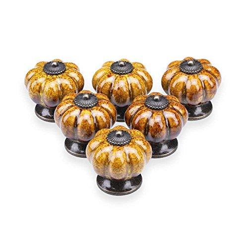 TOOGOO Ceramic Glazed Pumpkin Knobs Classy Vintage Cabinet Door Pull Handle 6pcs (Yellow)