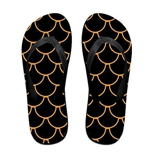 QR FUNK Unisex Gold Lines Fish Scales Summer Fashion Flip Flops Beach - Havianna Sale